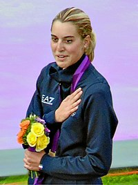 Jessica Rossi picking up gold in the London 2012 Olympic trap shooting (Portrait).jpg