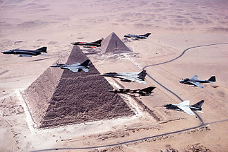 Operation Bright Star - Aircraft over the pyramids during Bright Star '83