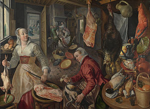 The Four Elements: Fire. A Kitchen Scene with Christ in the House of Martha and Mary in the Background