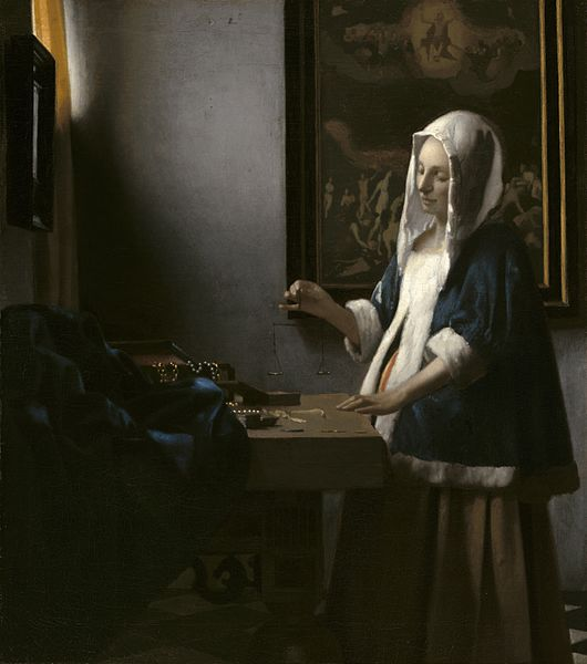 https://upload.wikimedia.org/wikipedia/commons/thumb/d/d9/Johannes_Vermeer_-_Woman_Holding_a_Balance_-_001.jpg/530px-Johannes_Vermeer_-_Woman_Holding_a_Balance_-_001.jpg