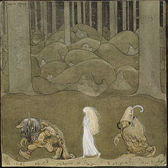 "The Princess and the Trolls, by John Bauer (1882–1918), was painted as an illustration for ""The Changeling"", a short story by Helena Nyblom. A watercolour held by the Nationalmuseum in Stockholm, it was first published in the 1913 edition of the anthology Among Gnomes and Trolls.  It shows the princess Bianca Maria between two trolls in a forest. Bauer's illustrations of fairy tales and children's stories made him a household name in his native Sweden, and shaped perceptions of many fairy tale characters."