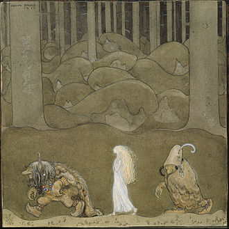 Changeling - Painting by John Bauer of two trolls with a human child they have raised