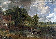 A horse-drawn wagon crossing a river towards a cottage, with trees and fields beyond