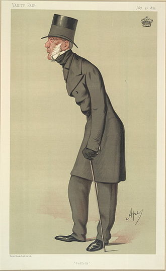 "John Rous, 2nd Earl of Stradbroke - ""Suffolk"", a caricature by ""Ape"" published in Vanity Fair in 1875."