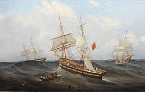 John Scott - Sailing vessels and a rowing boat in a heavy swell.jpg
