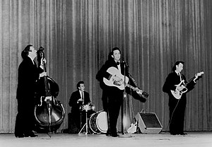 Johnny Cash - The Tennessee Three with Cash in 1963.
