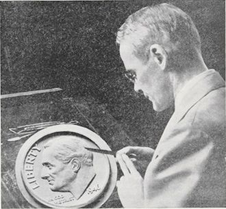 John R. Sinnock - Sinnock at work on plaster model of Roosevelt dime