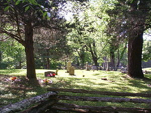The Johnson family cemetery is on the grounds ...