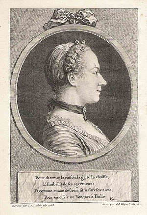 Marie Favart - Madame Favart (1762) in an engraving by Flipart after a portrait by Charles-Nicolas Cochin