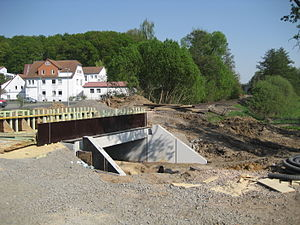 Vogelsberg Railway - Reconstruction of a bridge east of Buseck during Easter 2011