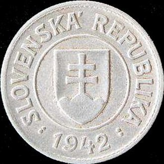 Coins of the Slovak koruna (1939–45) - Image: KS 1 1942 obverse