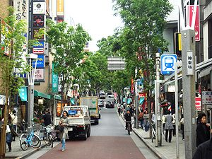 Kagurazaka - Lower portion of Kagurazaka street.