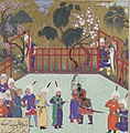 Kai Kavus and Rustam Embrace , Folio 123r from the Shahnama (Book of Kings) of Shah Tahmasp MET DP107198-cropped.jpg