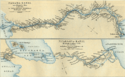 Historical map of the proposed Panama and Nicaragua canals