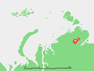 Lake Taymyr - Location of Lake Taymyr in the center of the Taymyr Peninsula