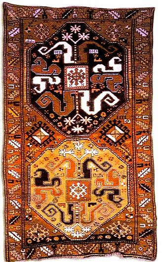 Azerbaijani rug - A Karabagh carpet of the Malibayli sub-group. Malibayli village of Shusha, 1813