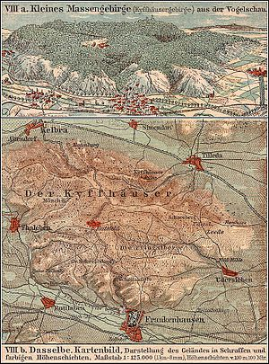 Kyffhäuser - Map of the Kyffhäuser range (about 1913)