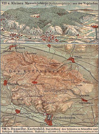 Kyffhäuser - Map of the Kyffhäuser range (about 1913)
