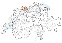 Map of Switzerland, location of Basel-Landschaft highlighted