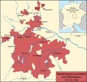 Bavaria-Landshut - The larger Duchy of Bavaria-Landshut between 1363 and 1392 (includes Munich and Ingolstadt but not Straubing)