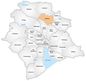 Oerlikon (Zürich) - Map of Oerlikon as a quarter of Zürich