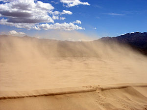 Sediment transport - Sand blowing off a crest in the Kelso Dunes of the Mojave Desert, California.