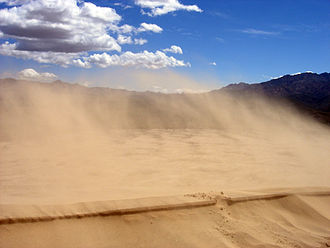 Aeolian processes - Sand blowing off a crest in the Kelso Dunes of the Mojave Desert, California.
