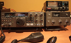Kenwood Corporation - Kenwood TS-430S HF transceiver (left) and Kenwood AT-250 automatic antenna tuner (right)