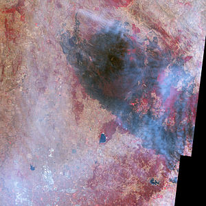 Black Saturday bushfires - NASA image of the Whittlesea-Kinglake area on 14 February