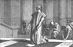 King Hezekiah, clouthed in sackcloth, spreads open the letter before the Lord.jpg
