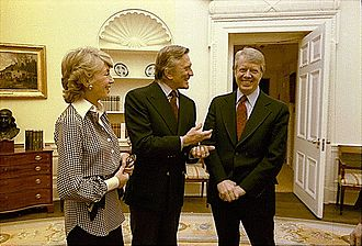 In the Oval Office with Douglas and President Jimmy Carter in 1978 Kirk Douglas Jimmy Carter.jpg