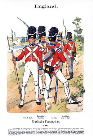 History of the Scots Guards (1805–1913) - An artist's impression of the uniform of the 3rd Foot Guards in 1815, by the German illustrator, Richard Knötel. The three soldiers of the Grenadier Company in the foreground are wearing parade uniform and those behind are in campaign dress.
