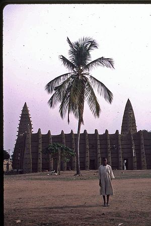 Religion in Ivory Coast - A mosque with a Sahelian architectural style in Kong
