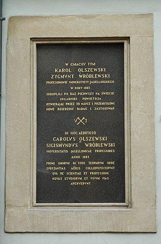 Karol Olszewski - Image: Krakow Olszewski Wroblewski plaque