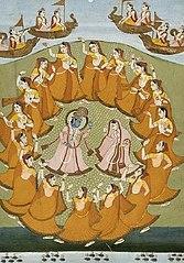Krishna et Radha dansent le Rasa Lila