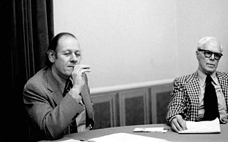 Center for Inquiry - Philosopher Paul Kurtz (left) and author Martin Gardner at a CSICOP executive council meeting in 1979