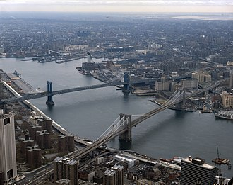 Two Bridges, Manhattan - Image: LOC Brooklyn Bridge and East River 2 cropped