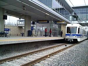 Century Park station (Edmonton) - Image: LRT Station Century Park 1st train
