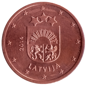 Latvian euro coins - Image: LV 5 centi