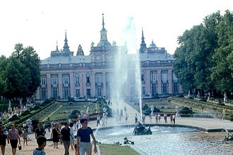 "Royal Palace of La Granja de San Ildefonso - ""Fame"" fountain and garden facade of La Granja."