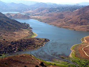 Aerial photo of Lake Hodges looking toward the...