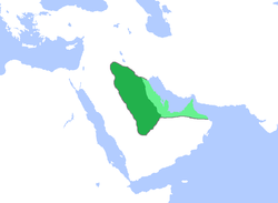 Map of the Lakhmid kingdom in the 6th-century. Light green is Sasanian territory governed by the Lakhmids.