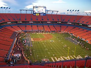 Hard Rock Stadium - Interior of Hard Rock Stadium in 2009, then named Land Shark Stadium. When the Marlins played there, the field was juggled among the Miami Dolphins, Miami Hurricanes, and Florida Marlins, making it an extremely used turf.