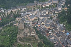 Aerial view of Larochette and its castle