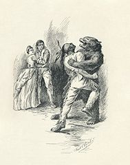 An illustration from 1896 edition of James Fenimore Cooper's The Last of the Mohicans. Set during the French and Indian War,  the novel details the transport of two young women to Fort William Henry. Among the caravan guarding the women are the frontiersman Natty Bumppo, the Major Duncan Heyward, and the Indians Chingachgook and Uncas. In this scene, Bumppo (disguised as a bear) fights against the novel's villain, Magua, as two of his compatriots look on.