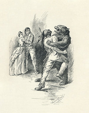 The Last of the Mohicans - Illustration from 1896 edition, by F.T. Merrill.  The drawing occurs when Hawk-eye attacks Magua in the cave where Alice is held captive.
