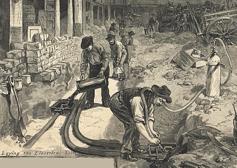 File:Laying the electrical Tubes electric lines under street Edison Pearl Street Utility June 21 1882 Harpers Weekly - detail.png