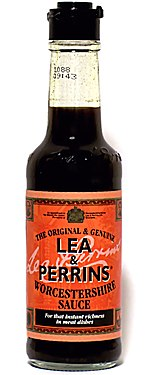 Bottle of Lea & Perrins Worcestershire sauce