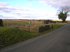 Leahill Turret, Hadrian's Wall - Image: Leahill Turret 51B, looking East, Hadrian's Wall