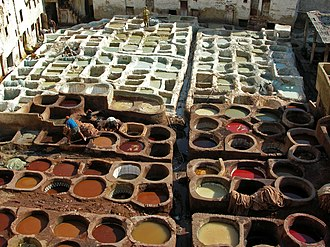 Fes el Bali - The leather tanneries in Fez.